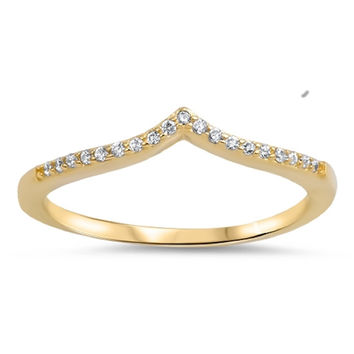 Sterling Silver Yellow Gold-Tone Plated CZ Simulated Diamond Tiara Ring 4MM