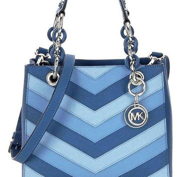 LMFON MICHAEL Michael Kors Womens Cynthia Chevron Small North South Satchel Sky/Silver