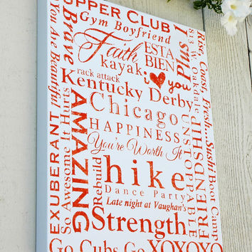 Hand Painted Family Canvas Art with Your Own Words - 16x20 White and Orange