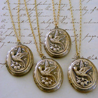 Locket Necklaces  - Vintage Brass jewelry - Victorian Locket -  Bird Locket - Vintage Wedding - Bridesmaid jewelry - 4 Necklaces