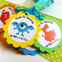 Thanks for Showering Our Little Monster Favor Tags for Baby Shower