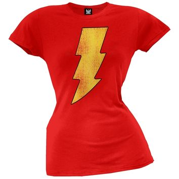 Shazam - Distressed Logo Juniors T-Shirt