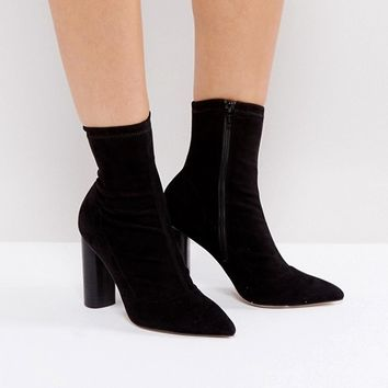 Office London Sock Heeled Ankle Boots at asos.com