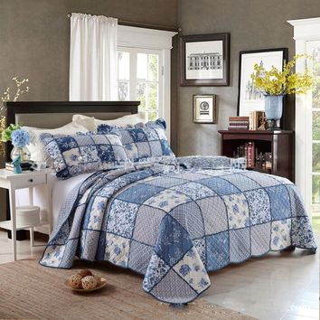 CHAUSUB King Patchwork QUILT Set 100% Cotton Quilts Bed Sheets Quilted Bedspread Pillowcase 3PC Printed Bedding Coverlet Blue