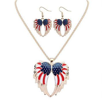 Fashion Colorful Enamel Angel Wings Design Jewelry Sets American Flag Pendants Necklace Earrings Set For Women