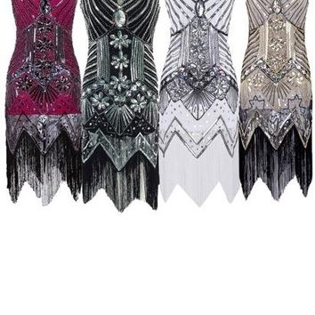 Women V Neck Sleeveless Sequins Tassel Latin Beaded Embellished Flapper Dress