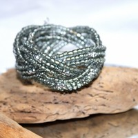 Beaded Triple Band Braided Memory Wire Cuff Bracelet Size M to L