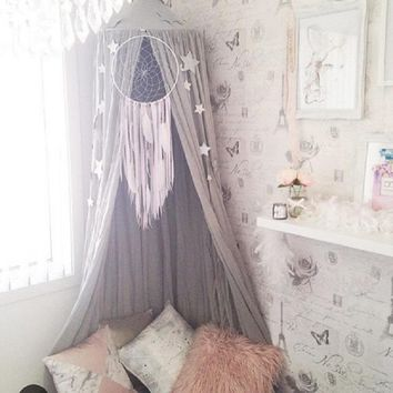 Lovely Hanging Dome Play Tent Bed Curtain Tent Mosquito Net Baby Hung Teepees Play House Kids Room Decor Nordic Style 4 Colors