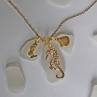 Sea Glass Cluster Necklace with Gold Sea Charms