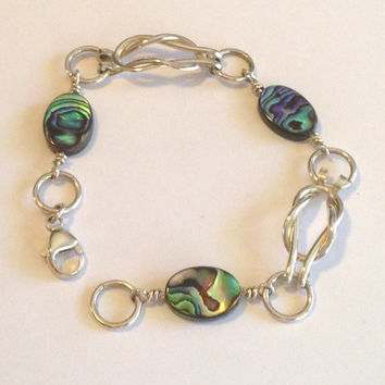 Silver Love Knot with Abalone Bracelet