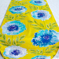 """3 ft. Table Runner - 12"""" x 36"""" - Blue Flowers on Yellow  - Everyday, Wedding - Reversible Table Topper"""