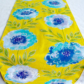 "3 ft. Table Runner - 12"" x 36"" - Blue Flowers on Yellow  - Everyday, Wedding - Reversible Table Topper"