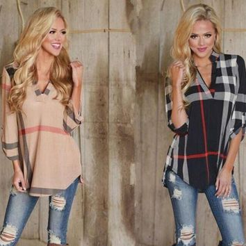 Womens Trendy Plaid Casual Top