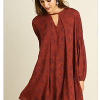 Magical Sunset Rust Red Print Long Sleeve Swing Dress