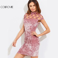 COLROVIE Geo Cutout Yoke Crushed Velvet Dress 2017 Pink High Neck Cap Sleeve Elegant Bodycon Dress Ladies Party Pencil Dress