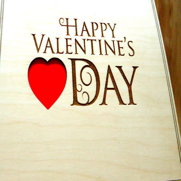 Happy valentines day Wood Card - Wedding Anniversary Greeting Card - Valentines' Day Card - Typography Cards