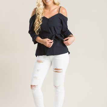 Mara Navy Cold Shoulder Top