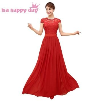 red top lace elegant bridesmaid floor length occasional dresses women bride maids day dress long 2018 size gown B3099