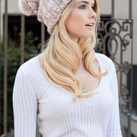 Slouchy Soft Sheen Beanie - Pink