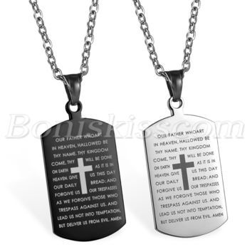 Mens Stainless Steel Cross Crucifix Bible Text Prayer Tag Pendan 5b225176de0a
