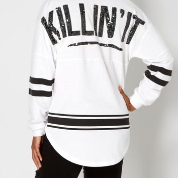 Varsity Killin' It Sweatshirt | Graphic Long Sleeve Tees | rue21