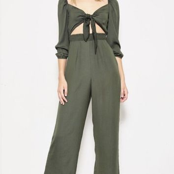 Silky Front Tie Jumpsuit