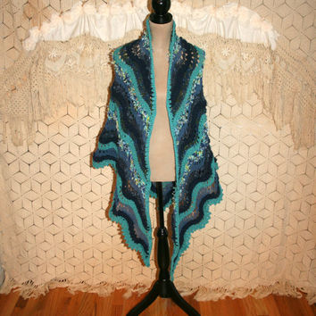Blue Shawl Knit Shawl Handmade Shawl Triangle Shawl Hippie Shawl Bohemian Shawl Festival Clothing Prayer Shawl Mothers Day Gift for Her