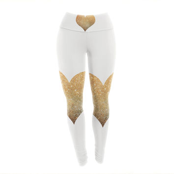 "Suzanne Carter ""Gold Heart"" Glam Yoga Leggings"