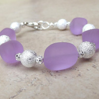Lavender Sea Glass Bracelet:  Purple and Silver Beaded Beach Resort Wear Accessory