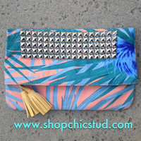 Tropical Flower Fold Over Clutch Bag With Tassel-  Silver Studs