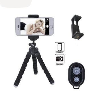 Octopus Tabletop 8 inch Tripod Stand Holder for iPhone/Android with Universal Clip and Remote