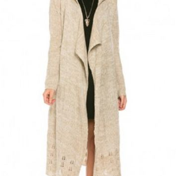 Bundled Up and Cozy Hoodie Hooded Long Duster Sweater- Taupe