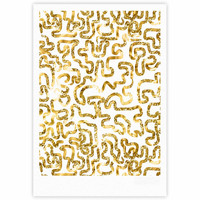 """Anneline Sophia """"Squiggles in Gold"""" Yellow White Fine Art Gallery Print"""