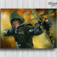 green arrow print superhero poster justice league art dc comics