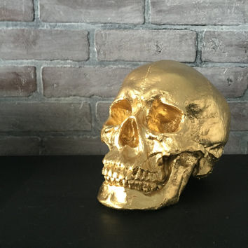 ANY COLOR XL Skull Sculpture / Faux Human Skull Replica / Faux Taxidermy // Skeleton // Gothic Decor // Halloween // Sugar Skull // Figurine