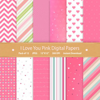 Digital Paper I Love You Pink Digital Paper Pack Valentines Digital Scrapbooking Commercial Use Digital Download Printable Paper Scrapbook