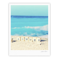 "Monika Strigel ""Summer at the Beach"" Blue Coastal Fine Art Gallery Print"