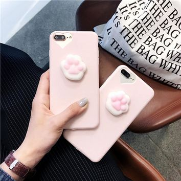Lovely Heart Cartoon Candy cat silicone Phone Cover for iphone 5 6 6s 7 8 X plus Case For Samsung galaxy S8 S6 S7 edge J5