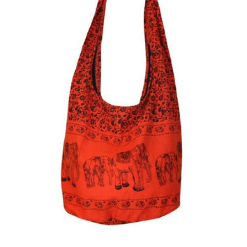 Tonka Cotton Shoulder Bag Cotton Elephant Original Print Sling Bag Purse Cross body Messenger Purse Hippie Hobo Color Orange Free Shipping