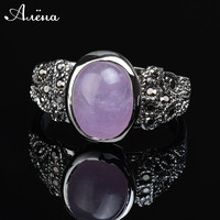 2015 New Fashion Vintage Rings Onyx Three Colors Silver plated Oval Vintage Ring Natural Stone Green Jade Pink Amethyst