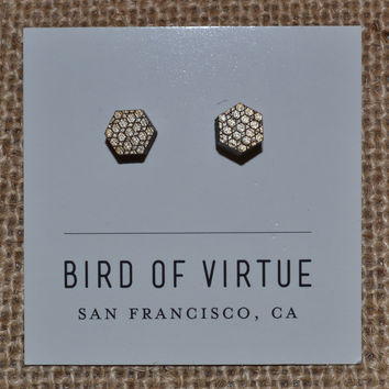 Bird of Virtue Stud Earrings -Gold Honeycomb