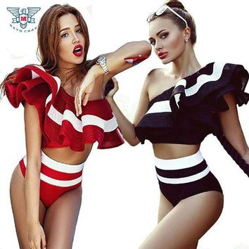 High Waist Swimsuit 2017 Retro Style Ruffle Bikini Swimwear 2 Piece Bathing Suit Vintage Off Shoulder Swimsuits Maillot De Bain
