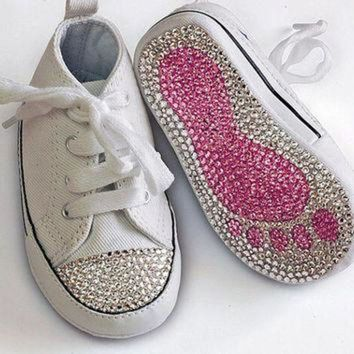 DCK7YE Swarovski Crystal Embellished Converse All Star Baby/Toddler Crib Shoe