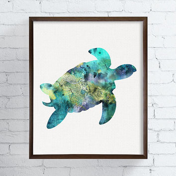 Sea Turtle Art Print, Watercolor Sea Turtle, Sea Turtle Painting, Bathroom Decor, Coastal Wall Art, Sea Life Art, Nautical Wall Decor