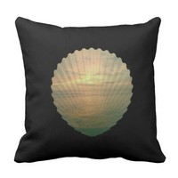 Sun set in sea shell on throw pillow