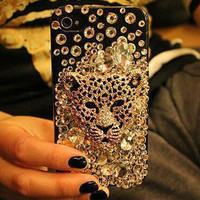 Leopard Series Alloy Diamond Leopard DIY phone case set  DIY cell phone case deco kit (Phone Case not Included)