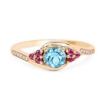 Blue Topaz, Pink Tourmaline and Sparkling White Diamonds, a PERFECT Combination!  Red, white and blue ring!
