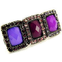 Rozlund's Chunky Triple Purple Stone Fashion Ring-Final Sale