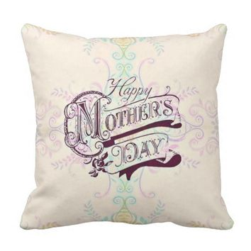 Pretty Pastels Vintage Style Mother's Day Pillow