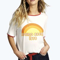 Sally Contrast Binding Retro Slogan Crop